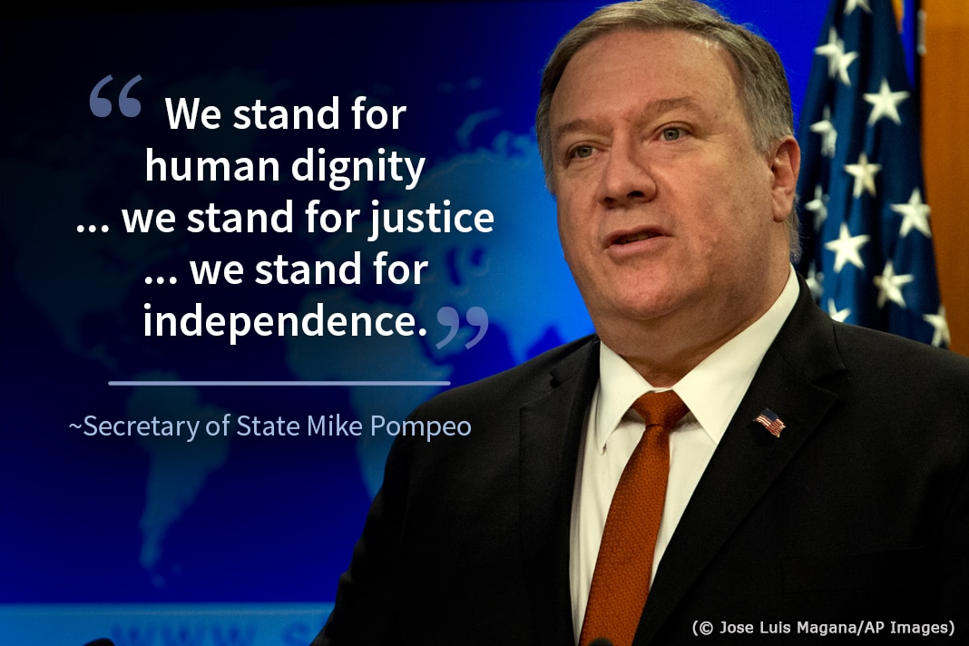 Photo of Mike Pompeo with flag and world map graphic behind, with superimposed Pompeo quote on Israel (State Dept./Photo © Jose Luis Magana/AP Images)