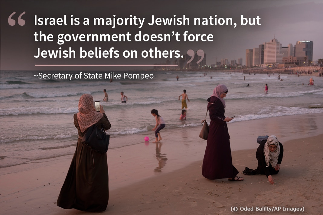 Photo of women in long dresses and children on beach, with superimposed Pompeo quote on Israel (State Dept./Photo © Oded Balilty/AP Images)