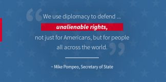 Pompeo quote on using diplomacy to defend unalienable rights worldwide