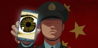 Illustration of a Chinese official holding a cell phone with an eyeball on the screen.