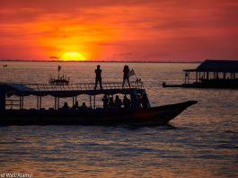 Sunset over boats (© David Wall/Alamy)