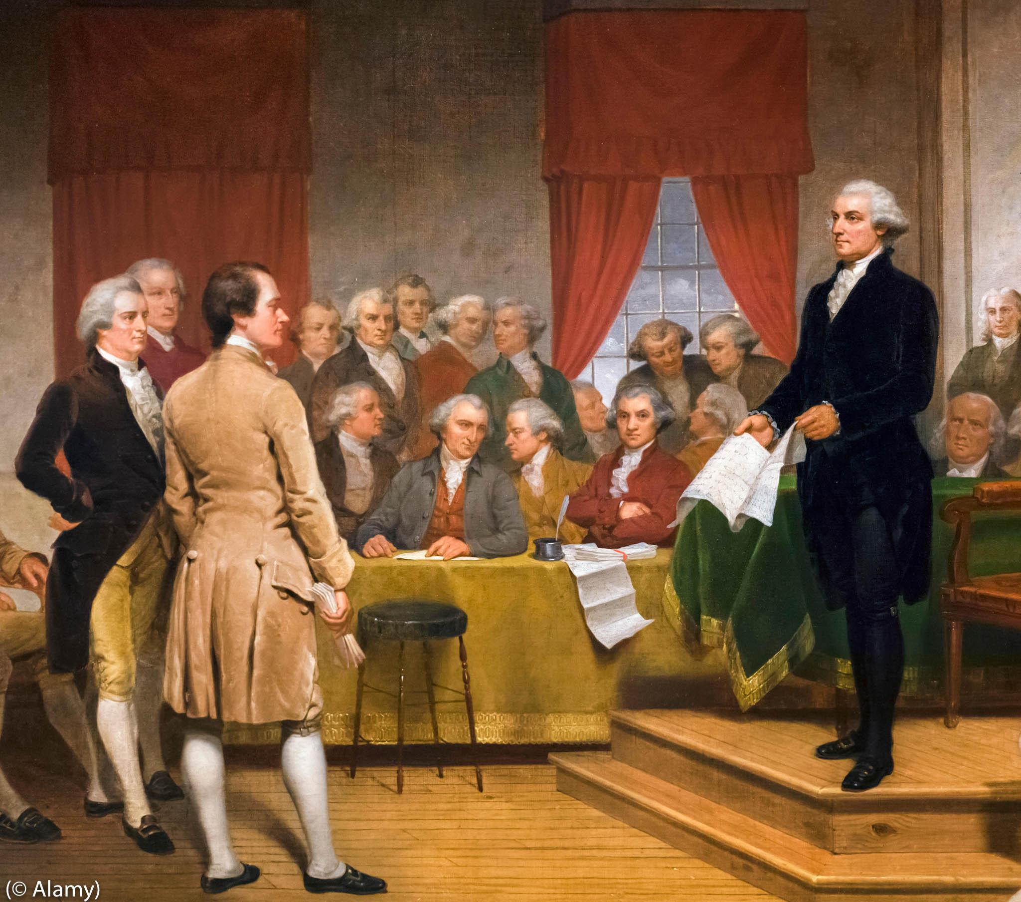 Tableau montrant George Washington en train de parler à un grand nombre de personnes dans une pièce (© Alamy)
