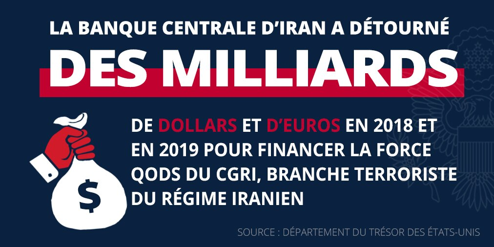 La Banque centrale d'Iran a détourné des milliards de dollars et d'euros en faveur de la force Qods du CGRI (Source : département du Trésor)