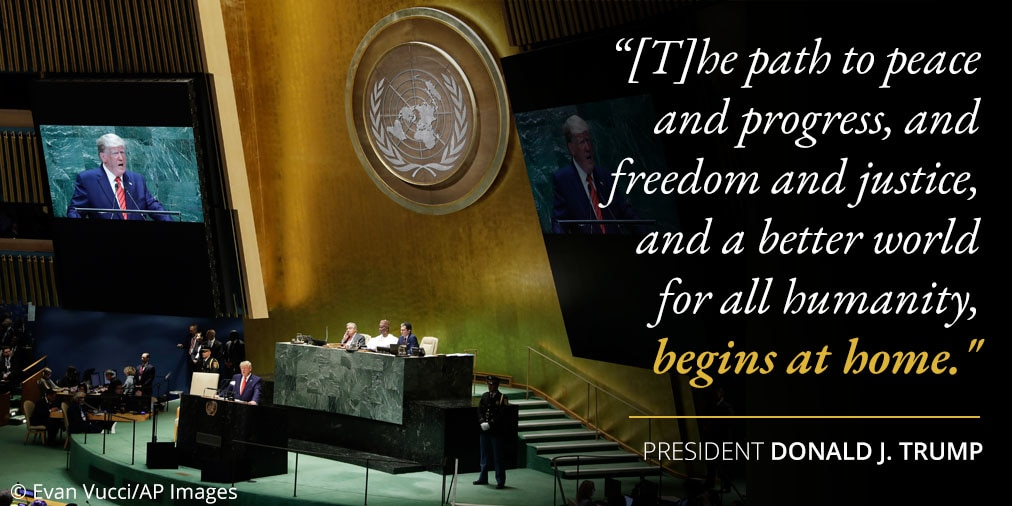 President Trump's remarks on path to peace and progress; photo of U.N. seal and stage (© Evan Vucci/AP Images)