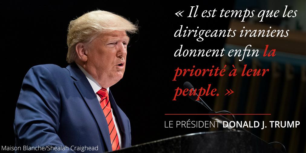 Déclaration du président Trump au sujet de la priorité à accorder au peuple iranien ; photo de Trump à un pupitre (Maison Blanche/Shealah Craighead)