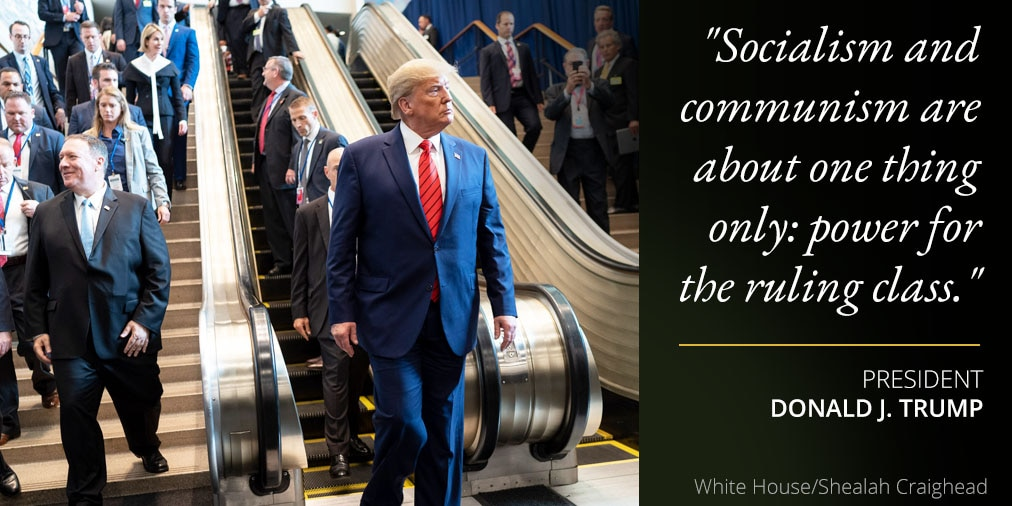 President Trump's remarks on socialism and communism; photo of Trump by escalator (White House/Shealah Craighead)