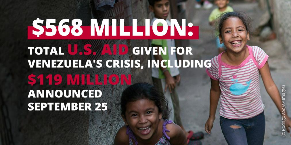 Info on U.S. aid given for Venezuela's crisis; photo of laughing children (© Rodrigo Abd/AP Images)