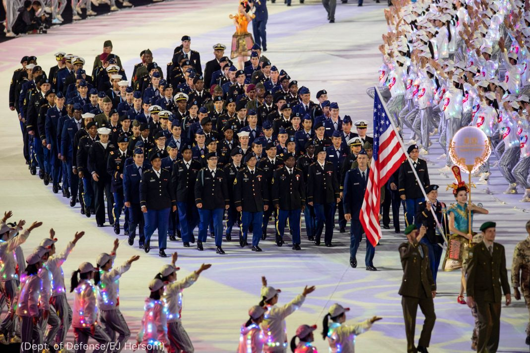 Military personnel standing in formation