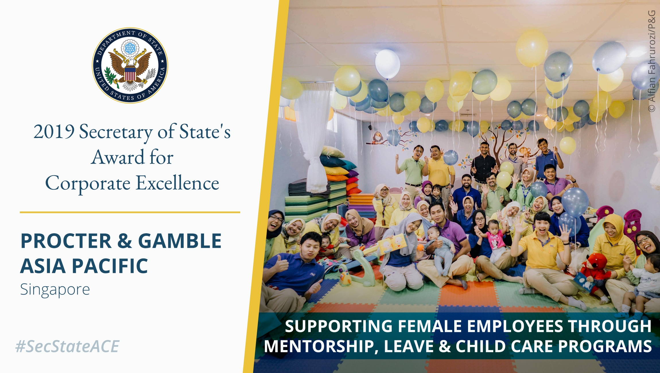 Photo of people posing in balloon-filled room next to text about corporate excellence award (State Dept./Photo © Alfian Fahrurozi/P&G)