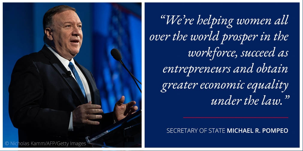 Photo of Pompeo at lectern next to quote on women in the workforce (State Dept./Photo © Nicholas Kamm/AFP/Getty Images)
