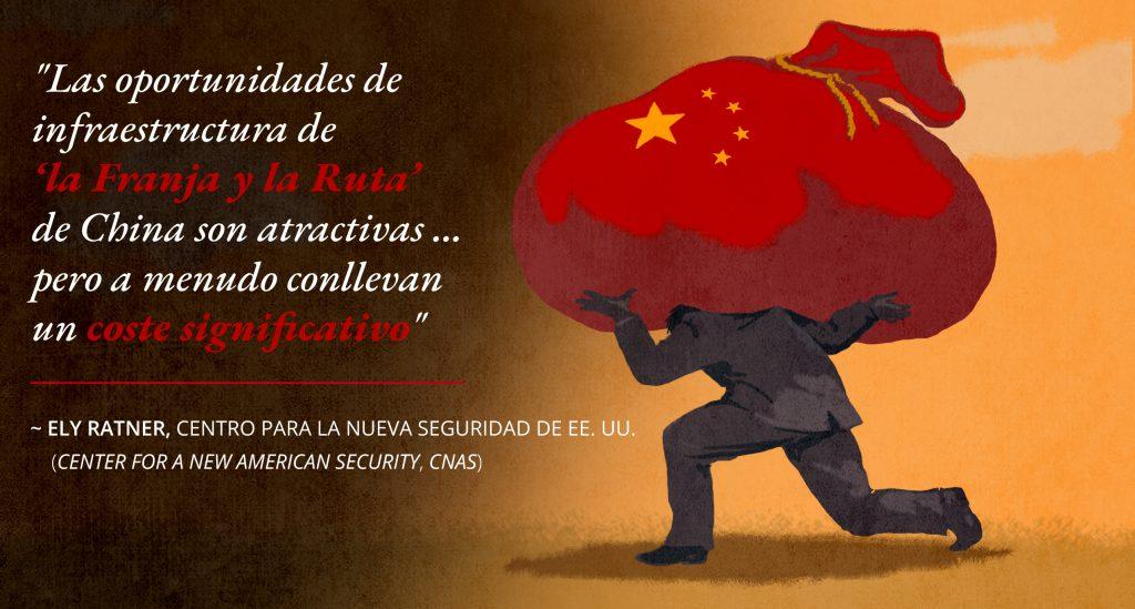 Ilustración de una persona que carga una bolsa grande de dinero, junto a una cita sobre el costo de los préstamos de China (Depto. de Estado/D. Thompson)