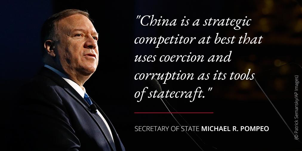 Photo of Secretary Pompeo alongside quote about China (State Dept./Photo © Patrick Semansky/AP Images)