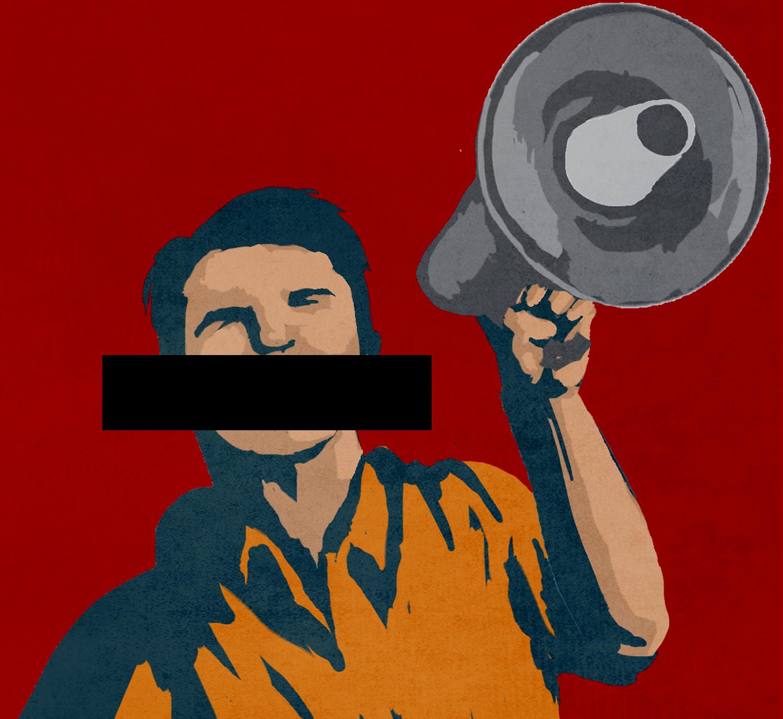 Ilustração de pessoa com tarja preta na boca segurando um megafone; ao fundo, a bandeira chinesa (Depto. de Estado/D. Thompson)