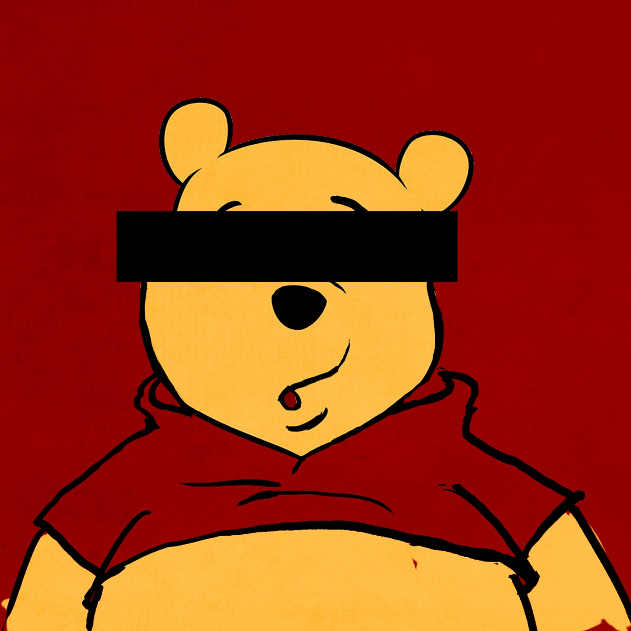 Chinese flag behind Winnie the Pooh with black tape over eyes (State Dept./D. Thompson)