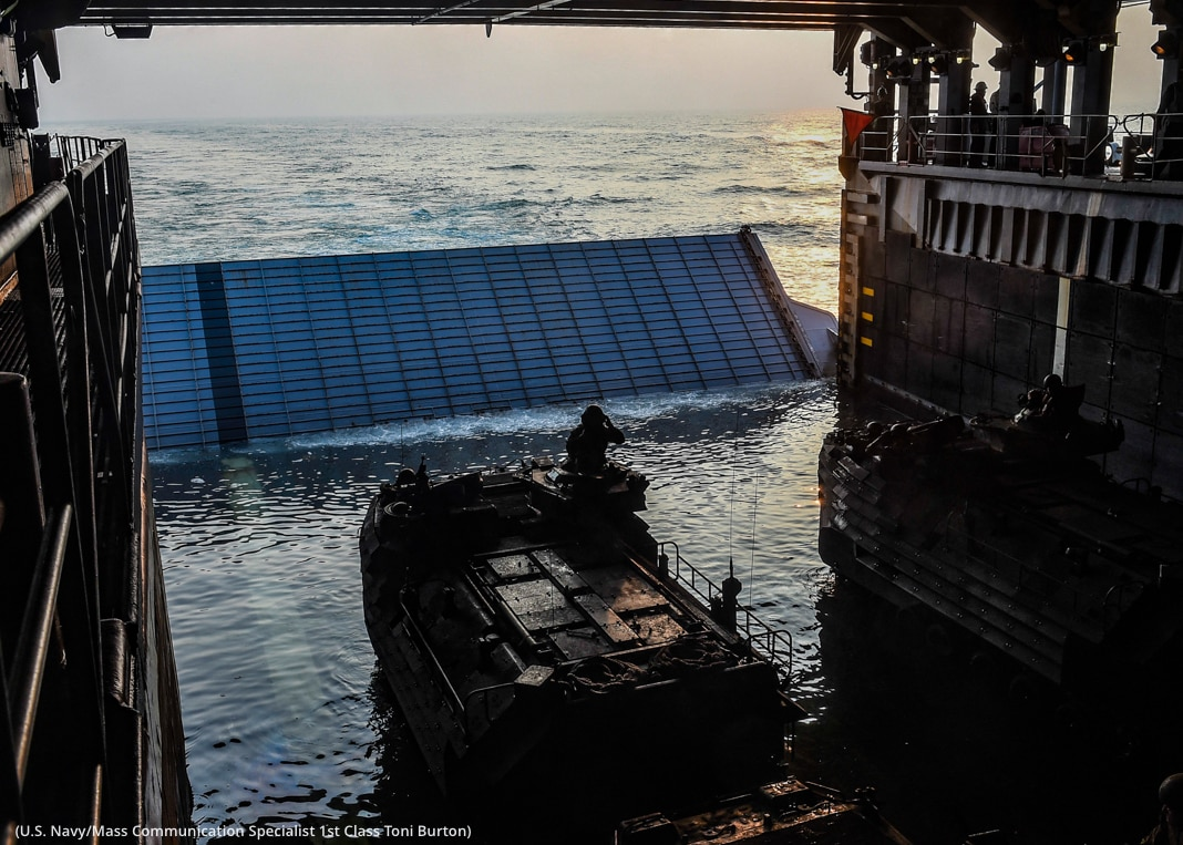 Assault amphibious vehicle going from ship to sea (U.S. Navy/Mass Communication Specialist 1st Class Toni Burton)