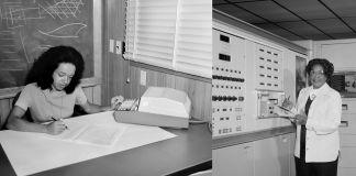 Trois photos adjacentes en noir et blanc. À gauche : une femme assise à un bureau, en train de travailler ; au milieu : une femme noire debout dans une salle au milieu d'équipement électronique ; à droite : une femme assise à un bureau, en train de travailler. (© Bob Nye/NASA/Interim Archives/Getty Images; © Bob Nye/NASA/Donaldson Collection/Getty Images; © NASA/Donaldson Collection/Getty Images)