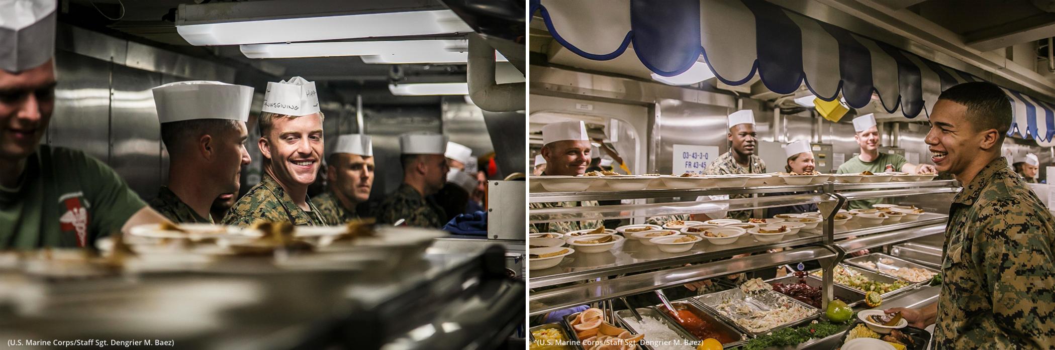 People standing at food line (U.S. Marine Corps/Sgt. Dengrier M. Baez)