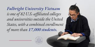 Photo of seated student, reading, next to quote about Fulbright University Vietnam (State Dept./Photo © Jet Huynh)
