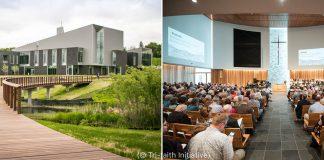 Photos of a church and a congregation attending church (© Tri-Faith Initiative)