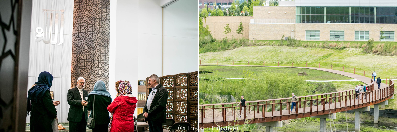 Photo d'un homme parlant à des femmes et à un homme dans une mosquée et à droite, la photo d'un pont circulaire pour piétons (© Tri-Faith Initiative)