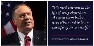 Photo of Pompeo with text about importance of veterans and service (© Mary Altaffer/AP Images)