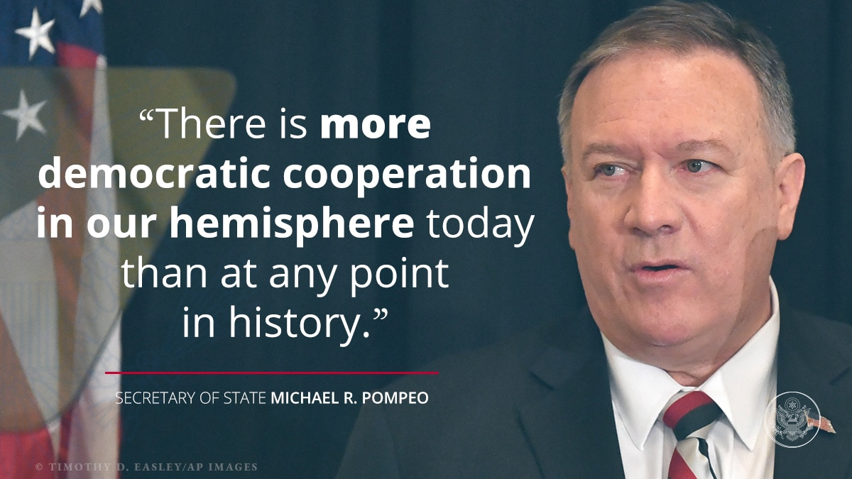 Photo of Pompeo, quote on democratic cooperation (© Timothy D. Easley/AP Images)