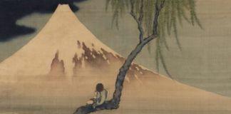 Painting showing boy sitting in tree by mountain (© Katsushika Hokusai/Freer|Sackler Gallery of Art)