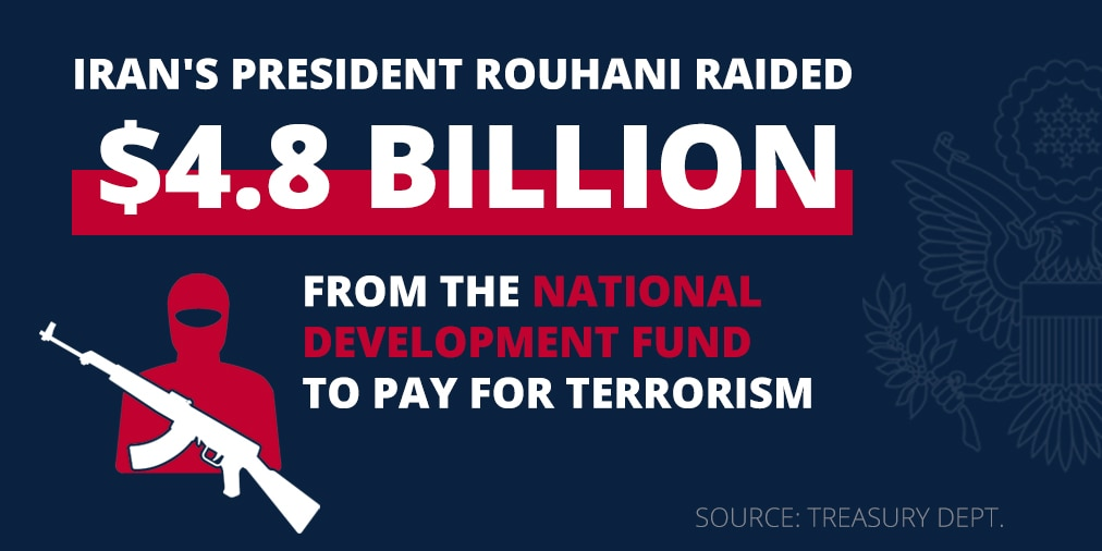 Words and dollar figure giving example of Iran's terrorism financing (State Dept.)