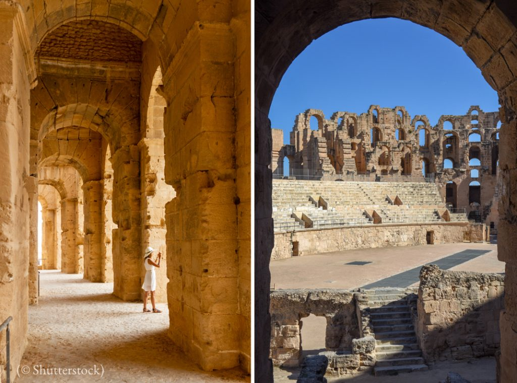 Two views of inside of large, open-air structure (© Shutterstock)