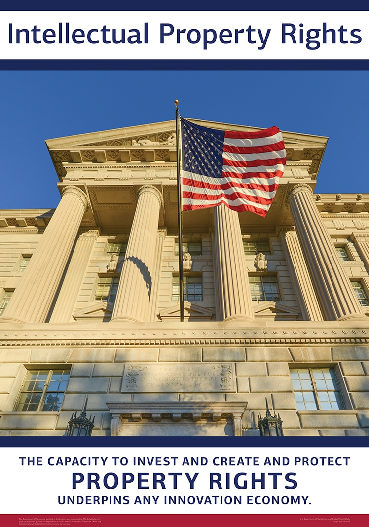 Intellectual property rights poster with picture of flag in front of columned building (© Shutterstock)
