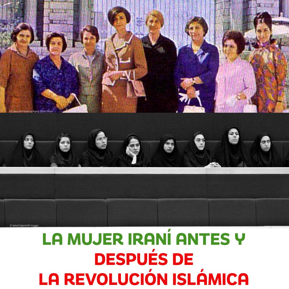 Arriba: Mujeres iraníes en traje occidental (© Colección Histórica/Alamy Stock Photo). Abajo Mujeres con pañuelos negros en la cabeza (© Vahid Salemi/AP Images)
