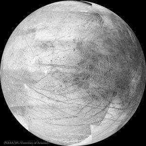 Esfera manchada contra fundo negro (Nasa/JPL/Universidade do Arizona)