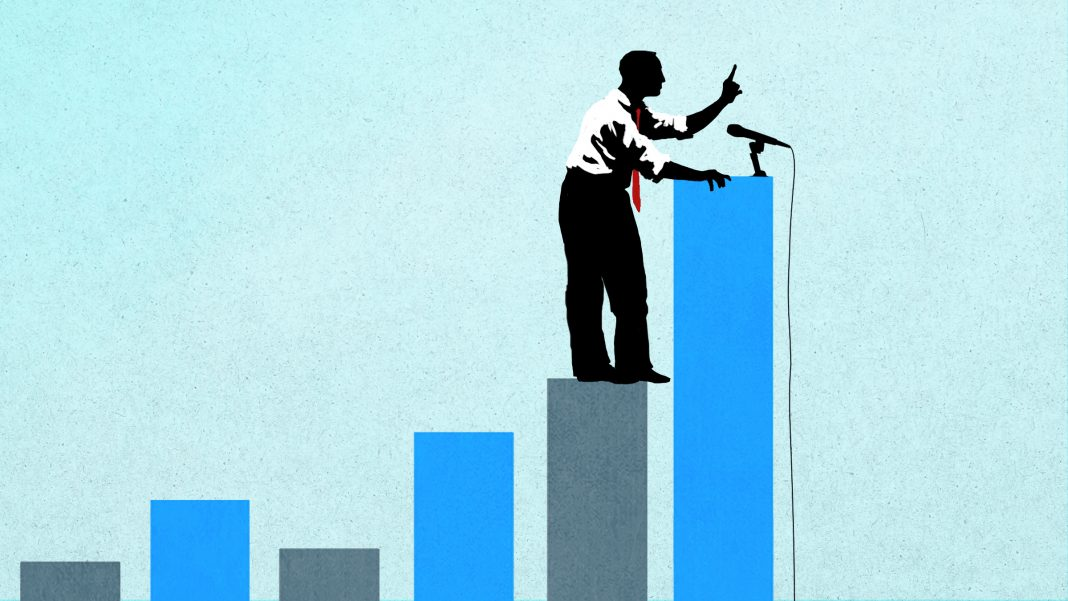 Illustration of man at microphone standing atop graph bars (State Dept./B. Insley)