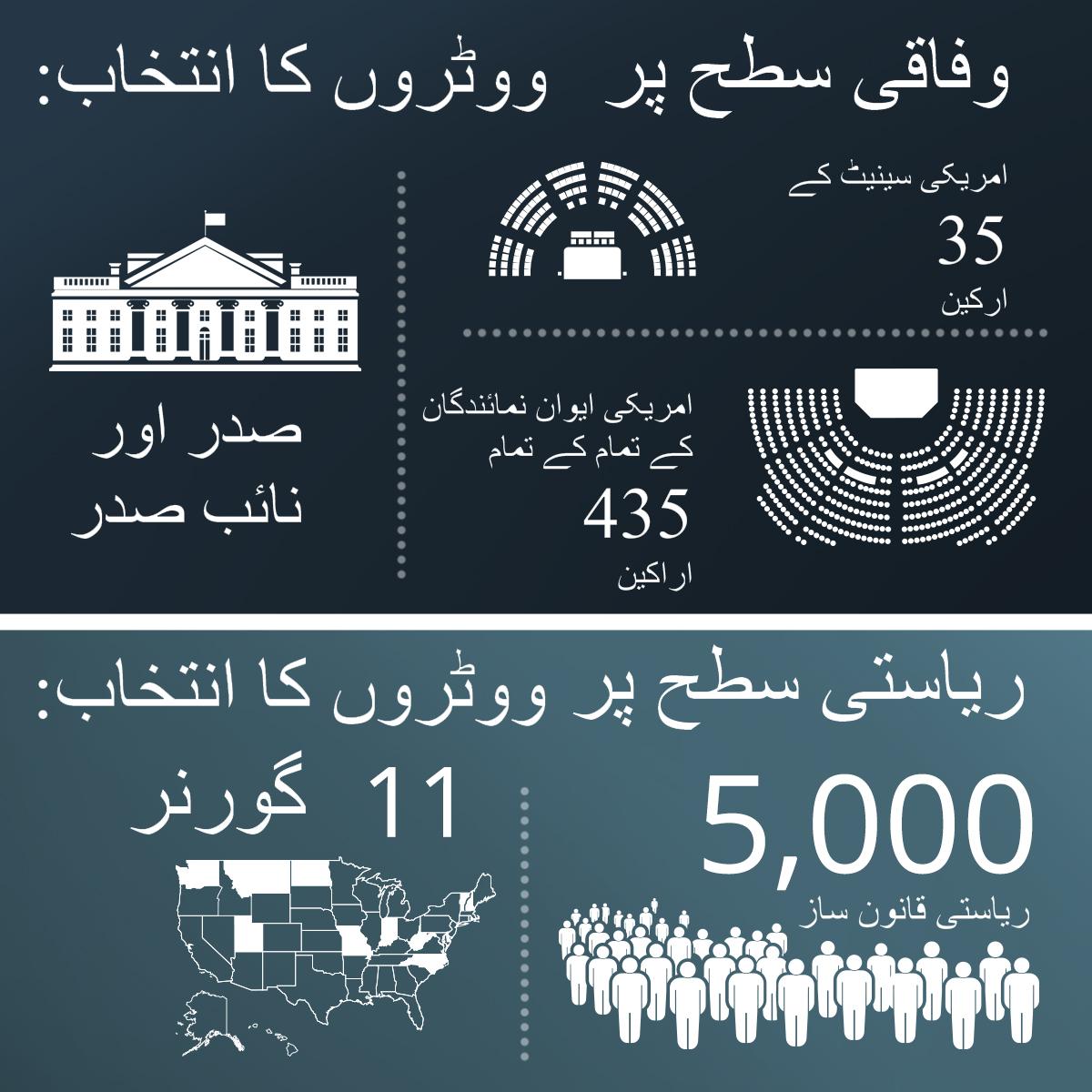 امریکہ کے انتخابات میں وفاقی اور ریاستی سطح کے عہدوں پر ہونے والے انتخابات کا تصویر خاکہ