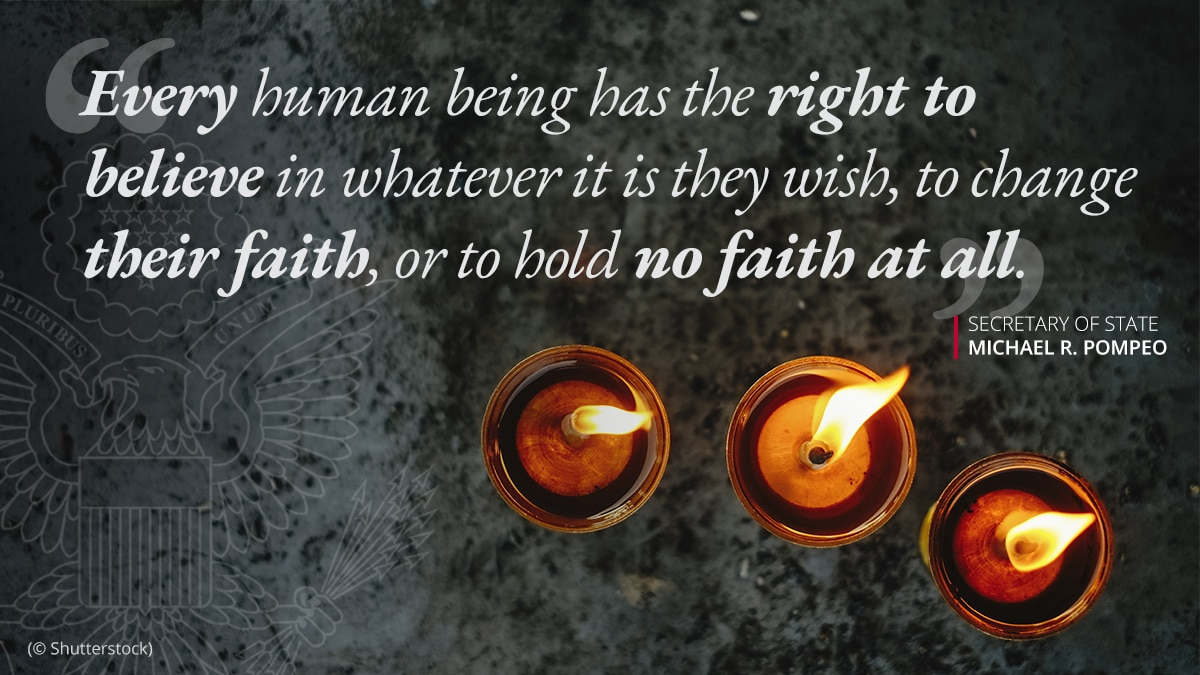 Photo of three burning candles, with overlaid quote on the right to have faith or no faith (© Shutterstock)