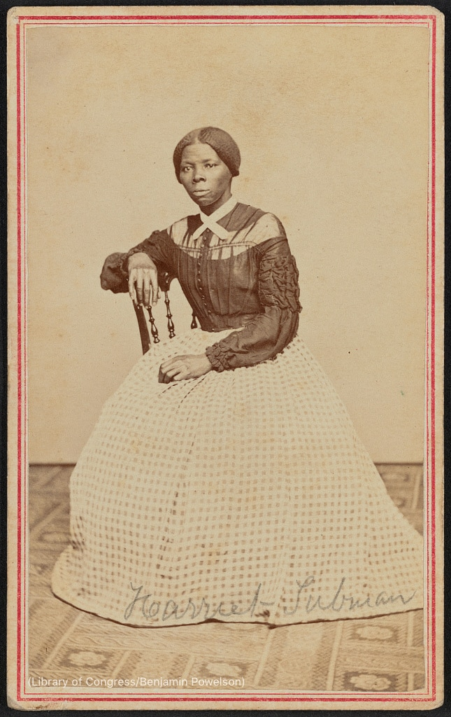 Portrait photo of Harriet Tubman sitting on chair (Library of Congress/Benjamin Powelson)