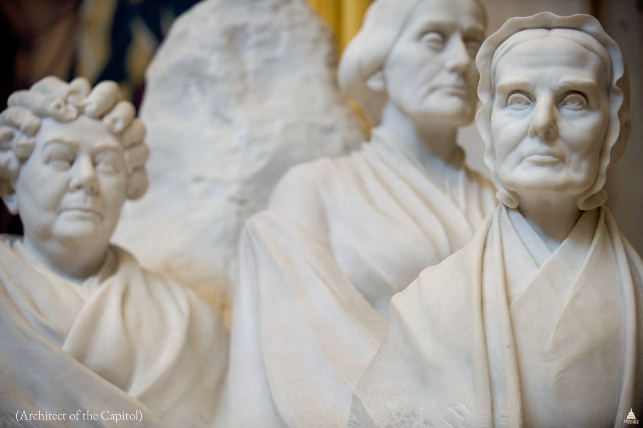 Close-up of sculpture incorporating marble busts of three women (Architect of the Capitol)