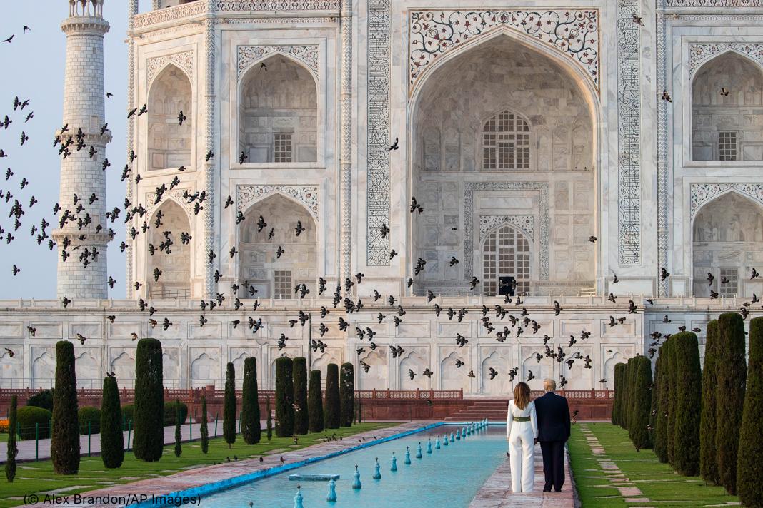 Trump and Melania standing in front of Taj Mahal as flock of birds flies past (© Alex Brandon/AP Images)
