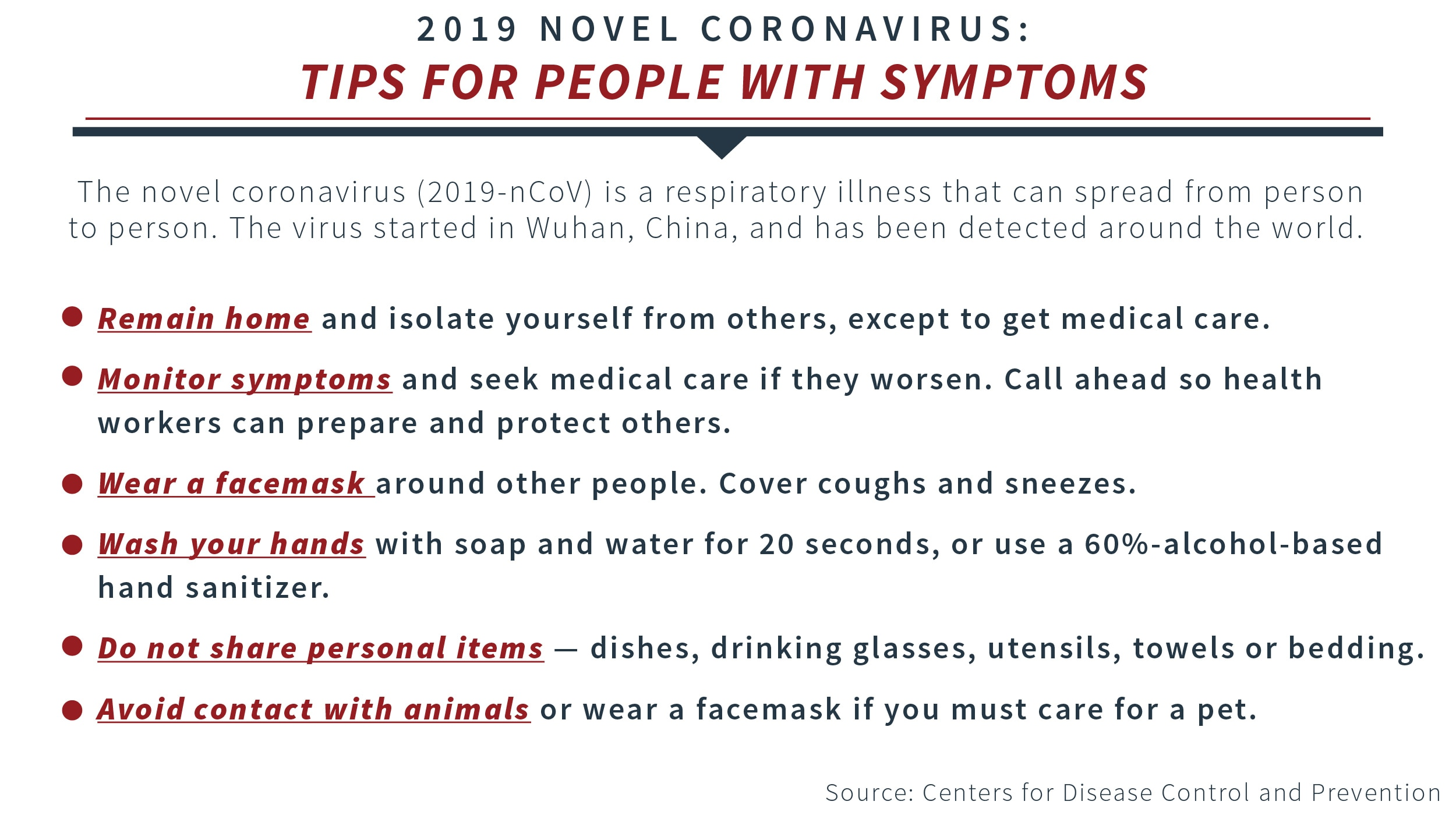 Tips to avoid infecting others if you have coronavirus symptoms (CDC)