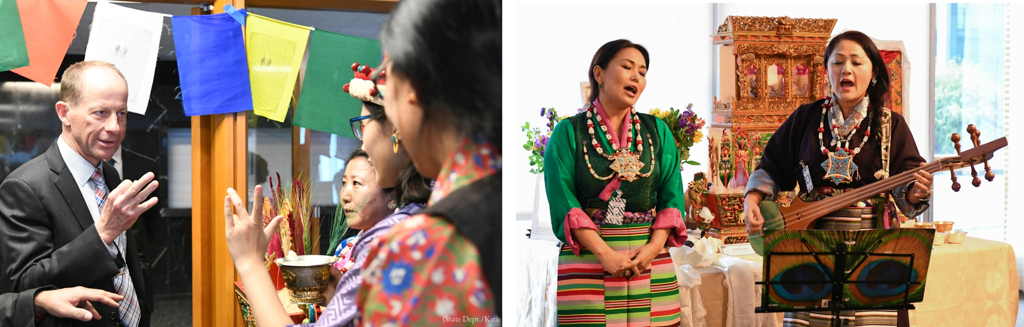 Left: Man making gesture and looking at people (State Dept./Katie Pollman) Right: Two women singing, one holding musical instrument (State Dept./Katie Pollman)