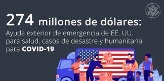 Gráfico muestra personas en un camión con bandera de EE. UU. entregando paquetes de ayuda (Imágenes: © Shutterstock | Gráfico: Departamento de Estado)