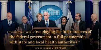 Pence standing at lectern, with others behind him, and quote by Pence (Photo: White House/Andrea Hanks. Graphic: State Dept.)