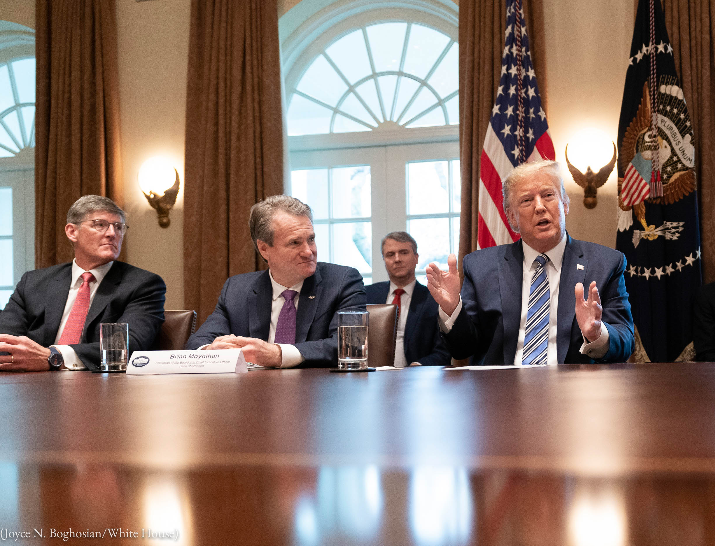 President Trump speaking at table with others listening (Joyce N. Boghosian/White House)