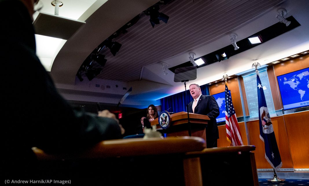 Michael R. Pompeo speaking at lectern (© Andrew Harnik/AP Images)