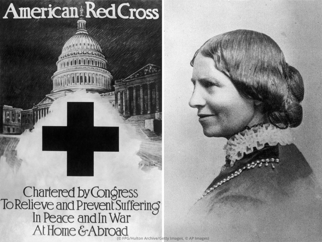 Recopilación de fotos con el cartel que presenta a la 'Cruz Roja Americana' (© FPG/Hulton Archive/Getty Images) y retrato de Clara Barton (© AP Images)