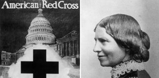 American Red Cross poster on left and profile portrait of Clara Barton on right (© FPG/Hulton Archive/Getty Images, © AP Images)