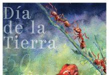 Poster ilustrado con una rana venenosa y hormigas rojas (Depto. de Estado/D. Thompson)