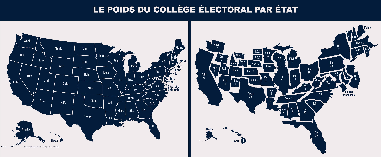 Deux cartes des États-Unis, l'une classique et l'autre où la taille des États est proportionnelle au nombre de leurs grands électeurs (Dép. d'État/Julia Maruszewski ; Images : © Shutterstock)