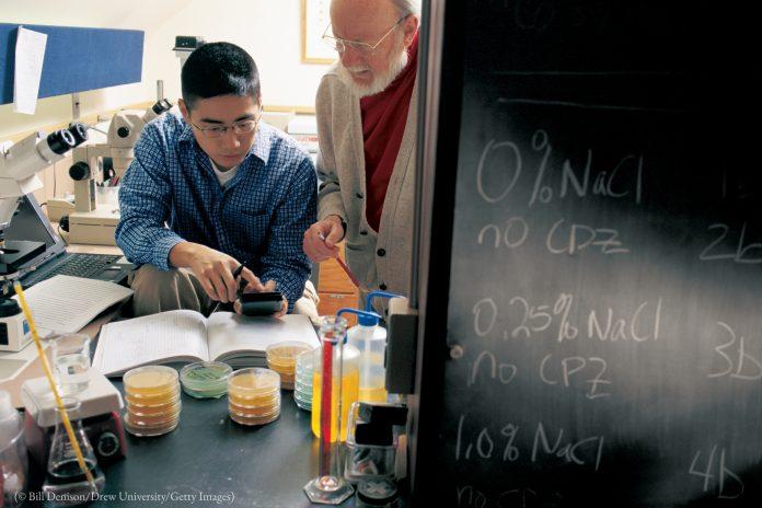 Dos personas rodeadas de equipos científicos, papeles y un pizarrón (© Bill Denison/Universidad de Drew/Getty Images)