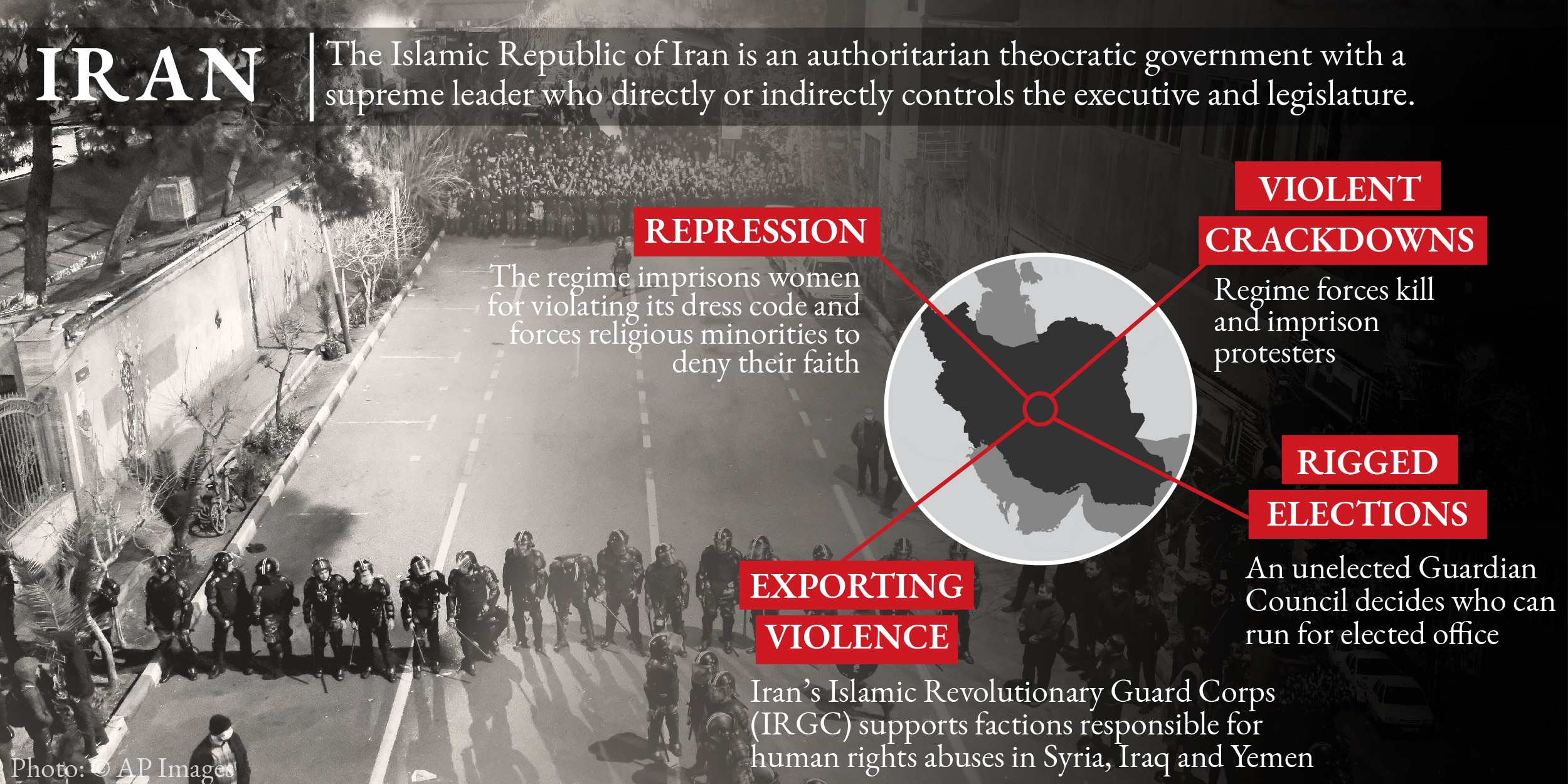 Infographic on Iran's human rights practices, with photo © AP Images (State Dept.)